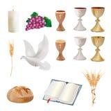 Ställ in isolerade kristna symboler - bägaren, druvor, bröd, bibeln, duvan, stearinljuset, öron av vete stock illustrationer
