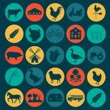 Ställ in jordbruk, djurhållningsymboler Royaltyfri Foto