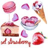 Ställ in jordgubbesötsaker Kaka, godis, glass och makron royaltyfri illustrationer