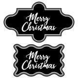 Ställ in jul för den svart tavlan för hälsningtappningramen glad Royaltyfri Fotografi