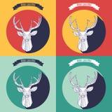 Ställ in julbakgrund med hjortar Arkivfoto