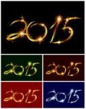Ställ in julkortet med glöd färgrik 2015 vektor Arkivbild