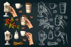 Ställ in kaffe Glass latte, handhållkopp Filial med bönor stock illustrationer