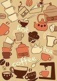 Ställ in kaffe och utslagsplatsen, illustration arkivfoton