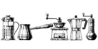 Ställ in kaffedanandeutrustning stock illustrationer