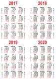 Ställ in kalendern 2017, 2018, 2019, 2020 rastermall Royaltyfri Foto