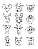 Ställ in kinesiska zodiakdjursymboler Fotografering för Bildbyråer