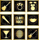 Ställ in klistermärkear av glam vaggar Royaltyfria Bilder