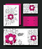 Ställ in kort handgjorda med blom- garnering Royaltyfri Bild