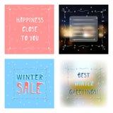 Ställ in kortet för fyra hälsningar med olika bakgrunder Stock Illustrationer