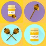 Ställ in kruset för symbolen för vektorillustrationlägenheten av honung Royaltyfri Foto