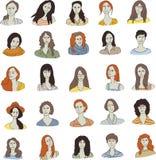 Ställ in kvinnaframsidasymbolen Royaltyfri Bild