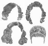 Ställ in kvinnahår den svarta blyertspennateckningen skissar babette för retro frisyr lockiga vågor Arkivbild