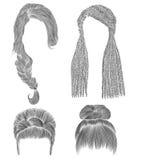 Ställ in kvinnahår den svarta blyertspennateckningen skissar stil för skönhet för mode för kvinnor för frisyr för bullebabette fr Fotografering för Bildbyråer