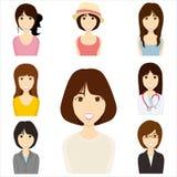 ställ in kvinnor vektor illustrationer