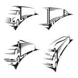 ställ in lastbilar Arkivbild