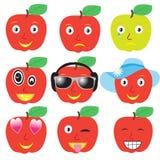 Ställ in leenden av äpplen Royaltyfria Foton