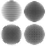 Ställ in lodlinjen, horisontal- diagonala band i mandalaen för solen för vektorn för cirkelkalligrafiborsten för komiker och mang royaltyfri illustrationer