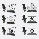 Ställ in logoen för datorreparation stock illustrationer