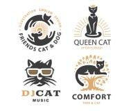Ställ in logoillustrationen med katter, emblemdesign stock illustrationer