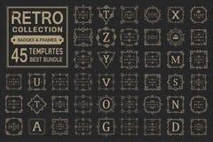 Ställ in lyxiga logoer och monogrammallen royaltyfri illustrationer