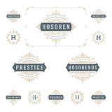 Ställ in lyxiga logomallkrusidullar calligraphic royaltyfri illustrationer
