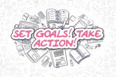 Ställ in mål tar handling - affärsidé Arkivfoton
