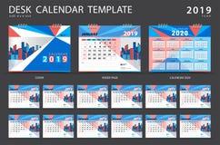 Ställ in mallen 2019 för skrivbordkalendern Uppsättning av 12 månader planner Veckastarter på söndag Brevpapperdesign annonsering stock illustrationer