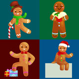 Ställ in mannen för julkakapepparkakan dekorerad med isläggningdans och hagyckel i hatt med julgranen och Arkivfoton