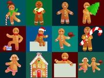Ställ in mannen för julkakapepparkakan dekorerad med isläggningdans och hagyckel i hatt med julgranen och Fotografering för Bildbyråer