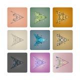 Ställ in markörer av trianglar, vektorillustration Arkivfoto
