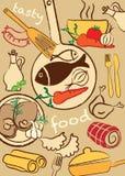 Ställ in mat, illustration arkivfoton