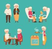 Ställ in med äldre folk vektor illustrationer