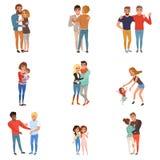 Ställ in med att krama folk Vänner flickvänner, bröder, mödrar och ungar, kopplar ihop förälskat Tecknad filmtecken med royaltyfri illustrationer