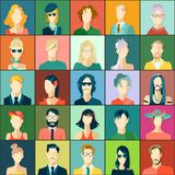 Ställ in med avatars, lägenhetdesign Arkivbilder