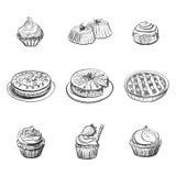 Ställ in med bageriprodukter, bakelser, muffin, kakor vektor för illustration för designmatsymboler dig Royaltyfria Bilder