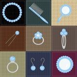 Ställ in med damobjekt på patchwork Royaltyfri Bild