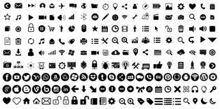 Ställ in med de mest använda rengöringsduksymbolerna stock illustrationer