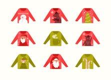 Ställ in med den fula tröjasamlingsvektorn cartoon Isolerad konst på vit bakgrund stock illustrationer