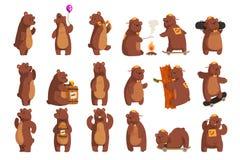 Ställ in med den roliga björnen Djurt tafsar vinka för skog förbi och att rymma ballongen, dansen och att tjuta och att kalla någ vektor illustrationer