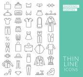 Ställ in med den tunna linjen symboler på tema av shopping Arkivbild