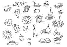 Ställ in med dragit klotter för snabbmat handen royaltyfri illustrationer