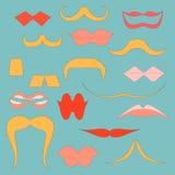 Ställ in med färgrika symboler av mustascher och kanter Royaltyfria Bilder