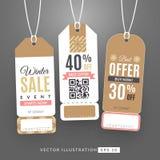 Ställ in med försäljningsetiketter Arkivbilder