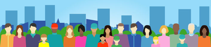 Ställ in med folk, familjen, väljarkår etc. på stad Royaltyfri Fotografi