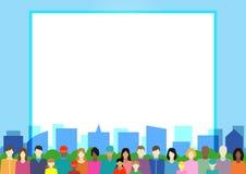 Ställ in med folk, familjen, väljarkår etc. på stad Arkivbilder