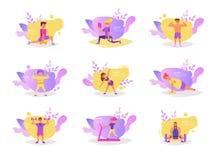 Ställ in med folk i idrottshallvektorn cartoon Isolerad konst på vit bakgrund plant vektor illustrationer