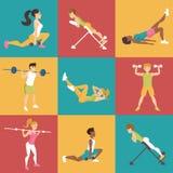 Ställ in med folk involverat i sportar stock illustrationer