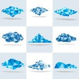 Ställ in med geometriska polygonal moln Royaltyfri Fotografi