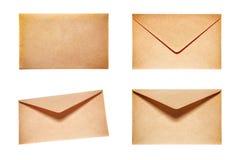 Ställ in med 4 gula kuvert Royaltyfri Fotografi